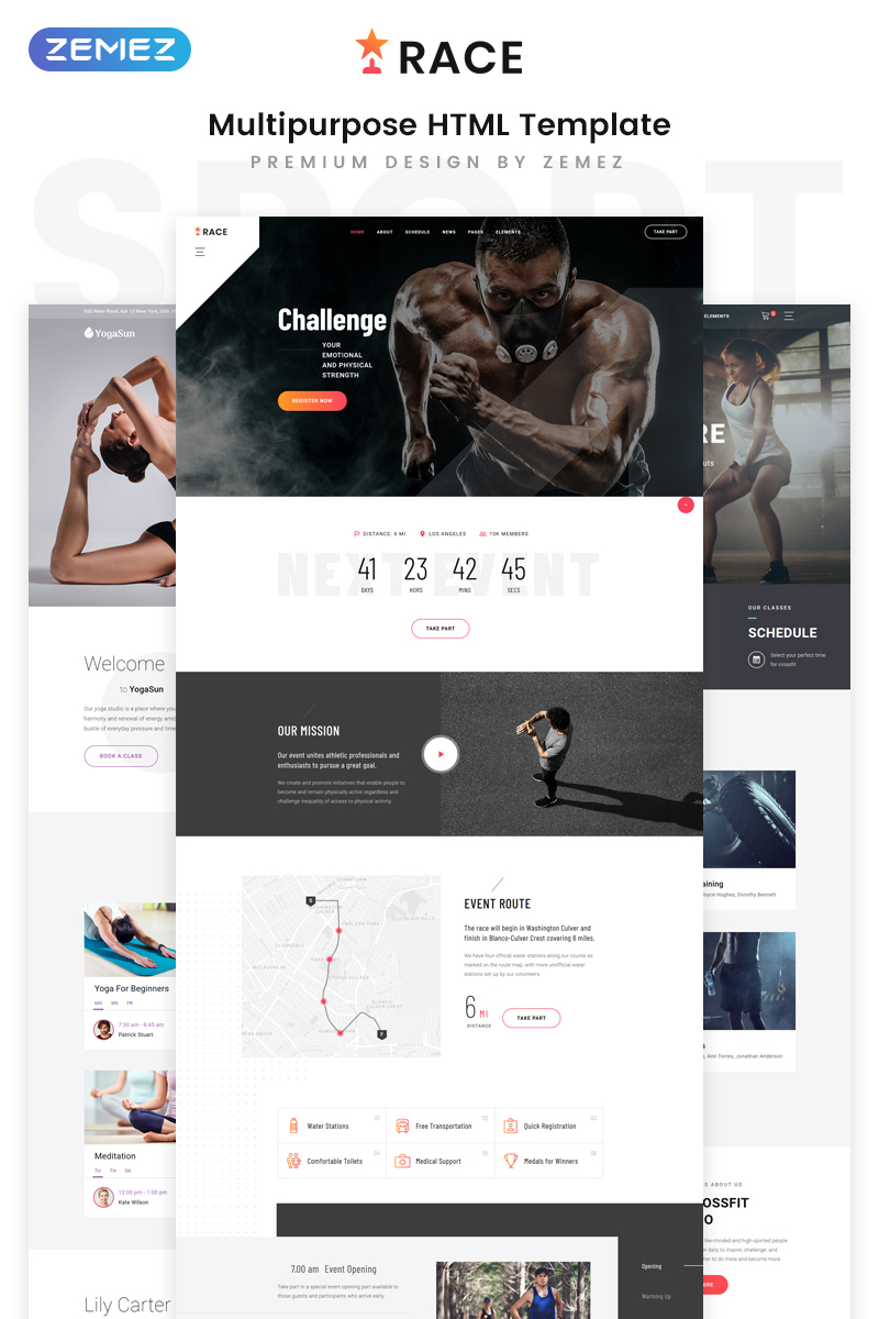 """Race - Sports Event Creative Multipurpose HTML5"" - адаптивний Шаблон сайту №80174"