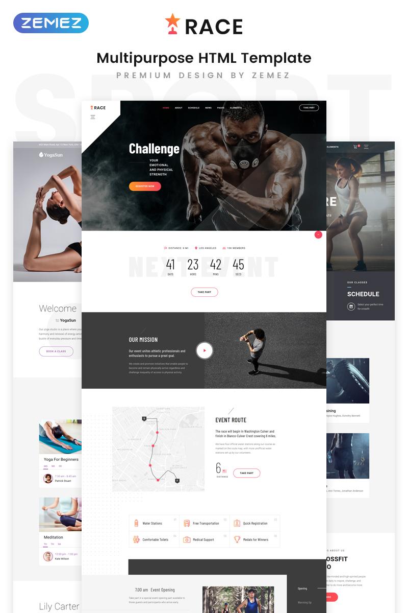 """Race - Sports Event Creative Multipurpose HTML5"" Responsive Website template №80174 - screenshot"