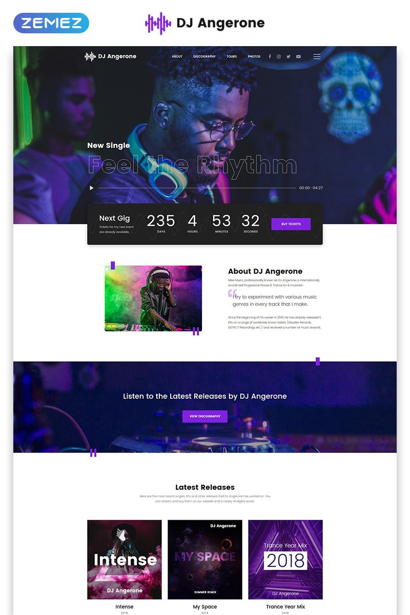 Responsivt DJ Angerone - Music Multipage Modern HTML Hemsidemall #80171