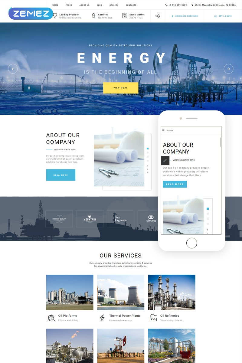 Reszponzív Blue Energy - Industrial Company Ready-To-Use Joomla sablon 80172