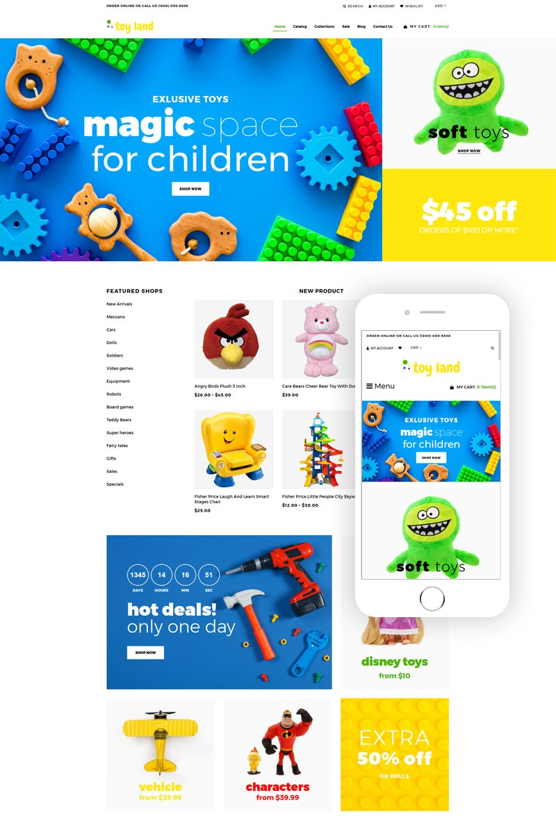 "Shopify Theme namens ""Toy Land - Toy Store Ready-To-Use Clean"" #80148"