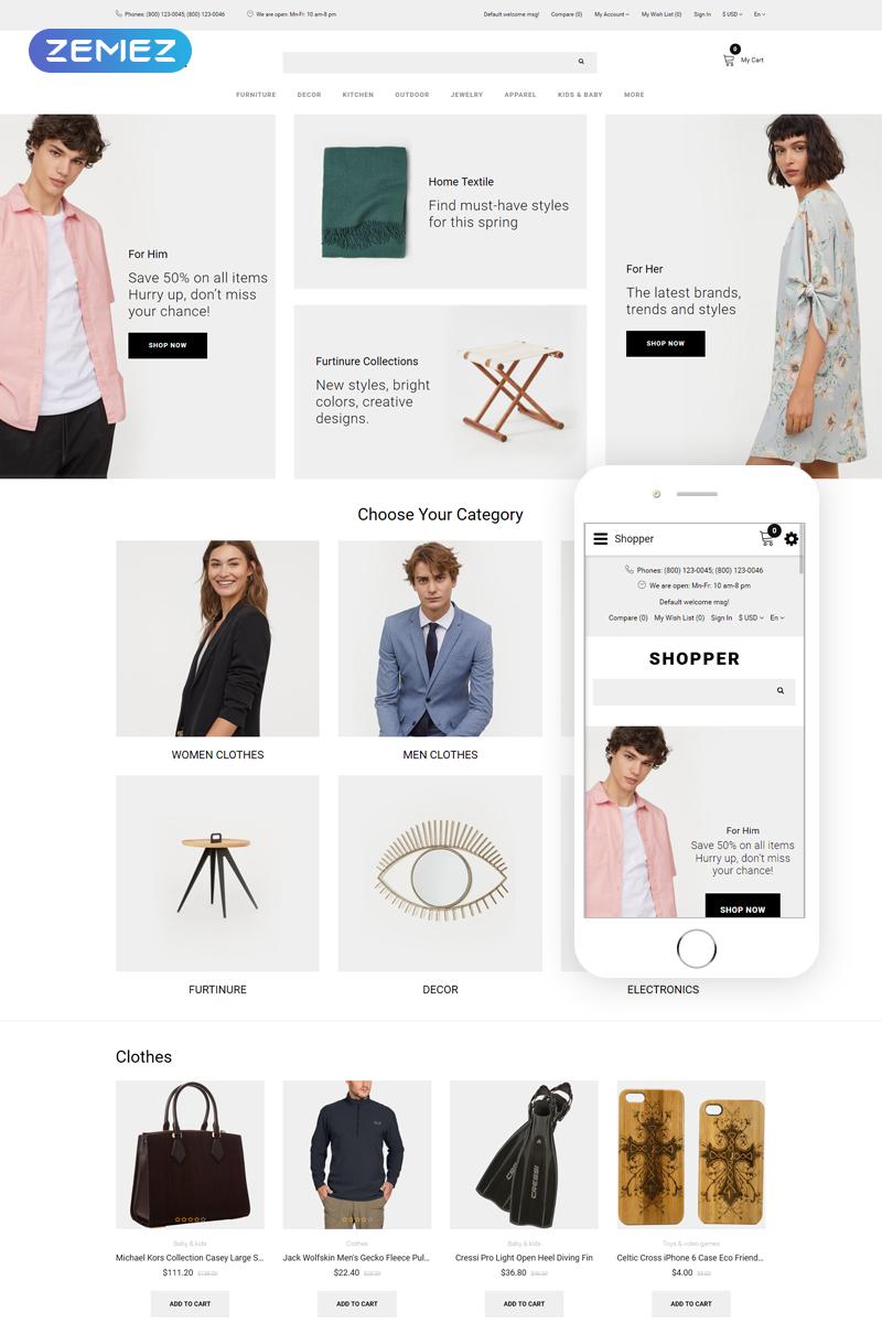 """""""Shopper - Wholesale eCommerce Clean"""" thème OpenCart adaptatif #80152"""