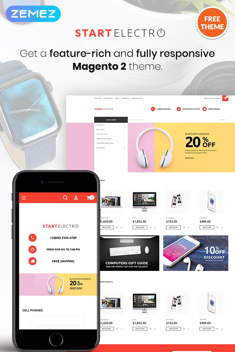 """""""StartElectro - FREE eCommerce"""" - Magento шаблон №80173"""