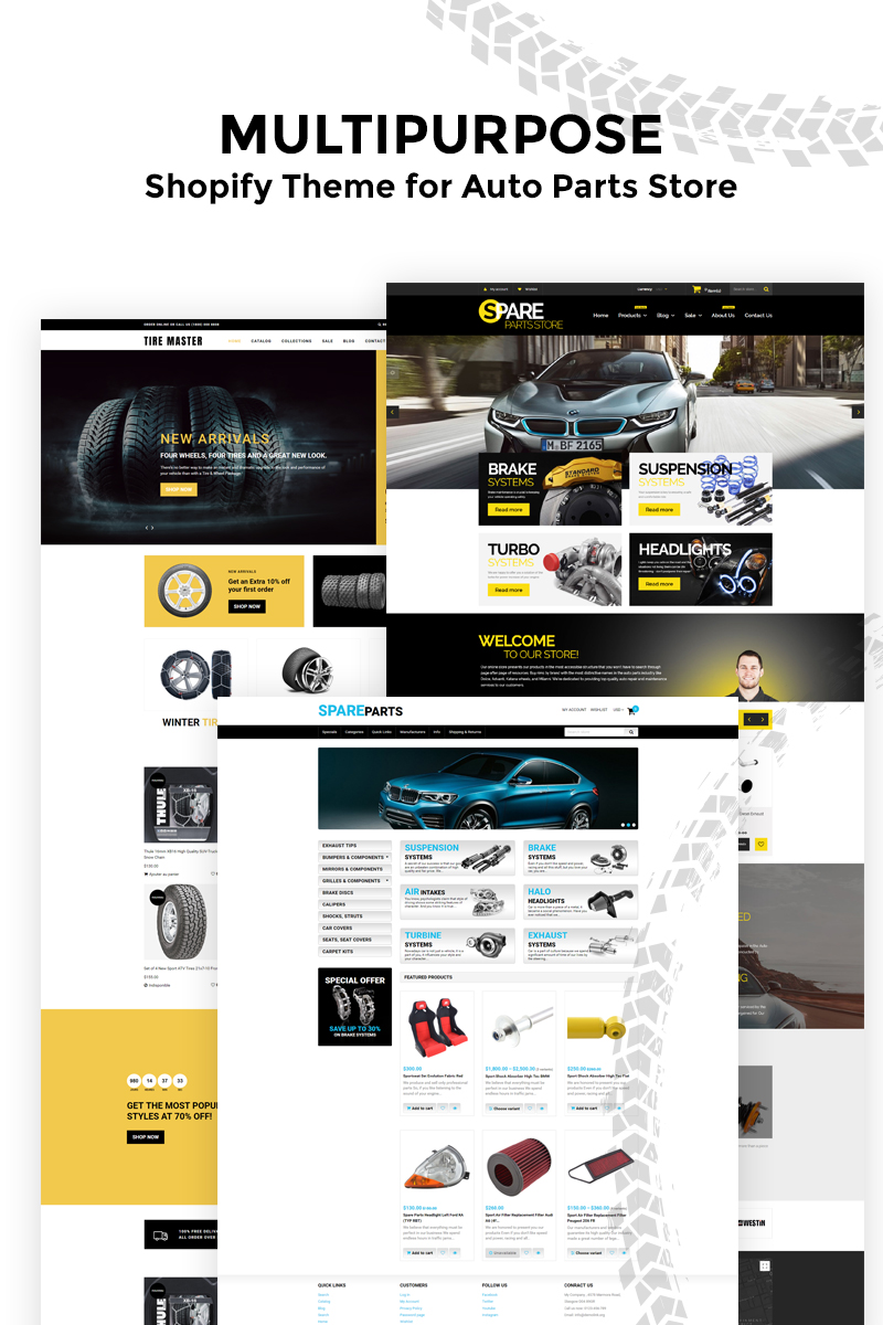 """""""Tire Master - Wheels & Tires Multipage Clean"""" thème Shopify adaptatif #80150"""