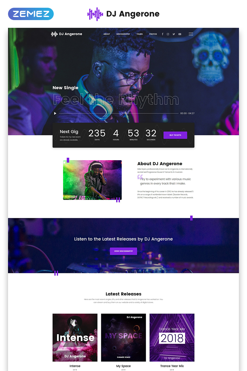 "Website Vorlage namens ""DJ Angerone - Music Multipage Modern HTML"" #80171"