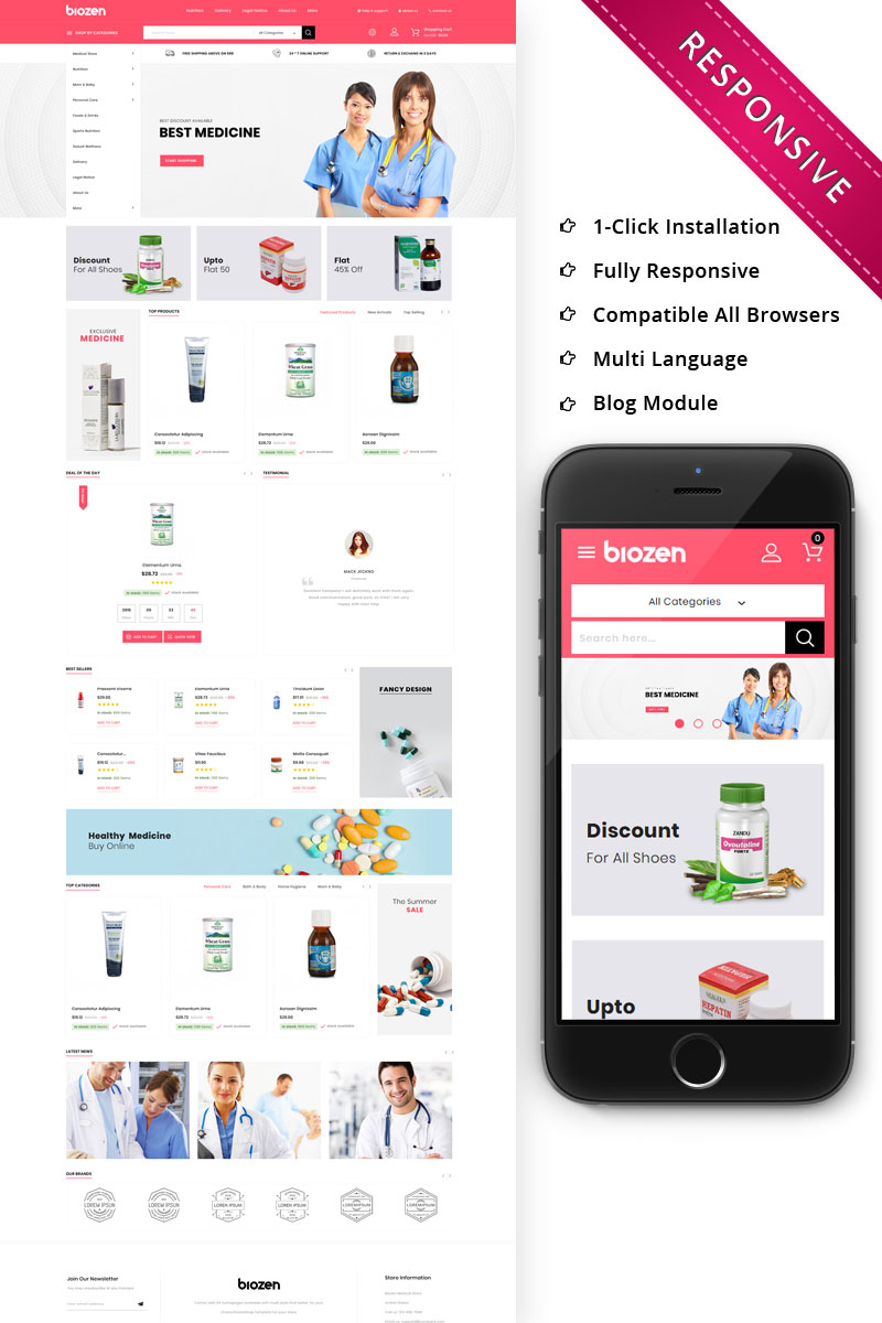 """BioZen - The Medical Store Responsive"" - адаптивний PrestaShop шаблон №80215"