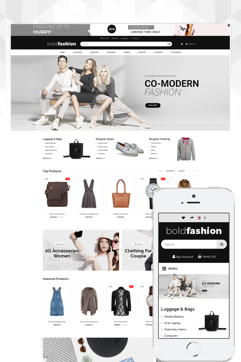 """Bold Fashion Store"" - адаптивний OpenCart шаблон №80237"