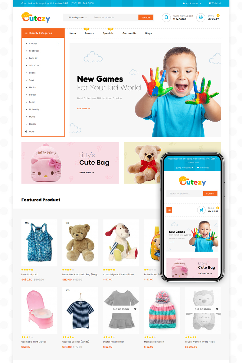 Cutezy - Kids & Toys Store OpenCart Template - screenshot