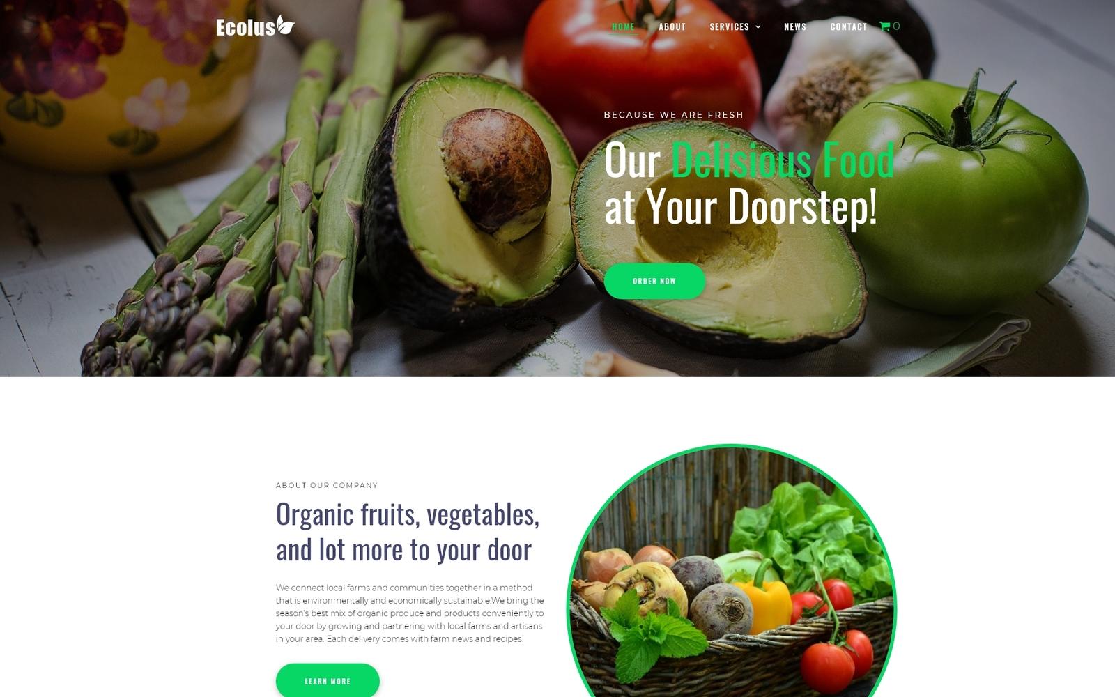 """Ecolus - Organic Food Delivery ECommerce Modern Elementor"" - адаптивний WordPress шаблон №80218"