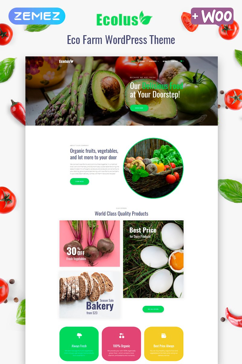 Ecolus - Organic Food Delivery ECommerce Modern Elementor №80218