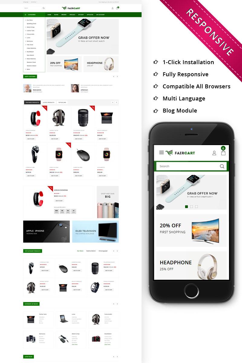 """Faircart - The Elecntronic Store"" - адаптивний OpenCart шаблон №80202"