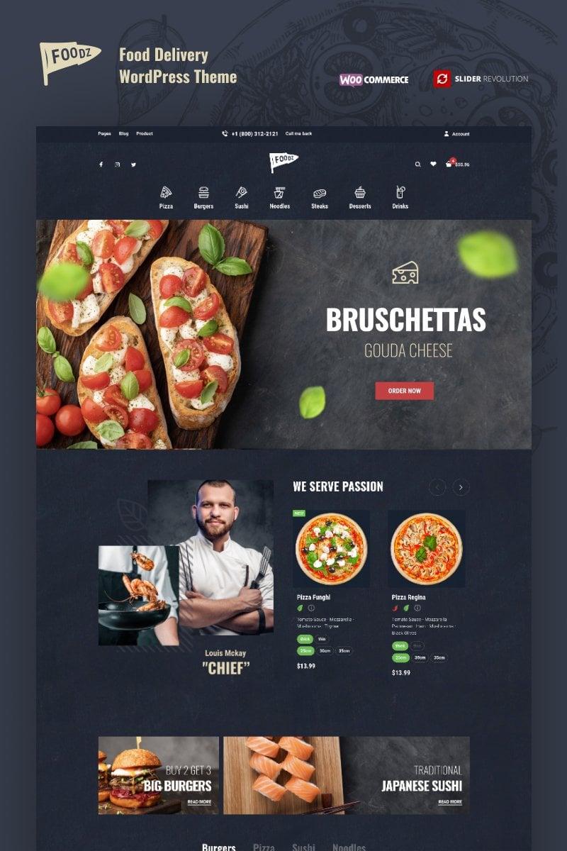 Foodz - Pizza, Fast Food Delivery & Restaurant WooCommerce-tema #80268 - skärmbild