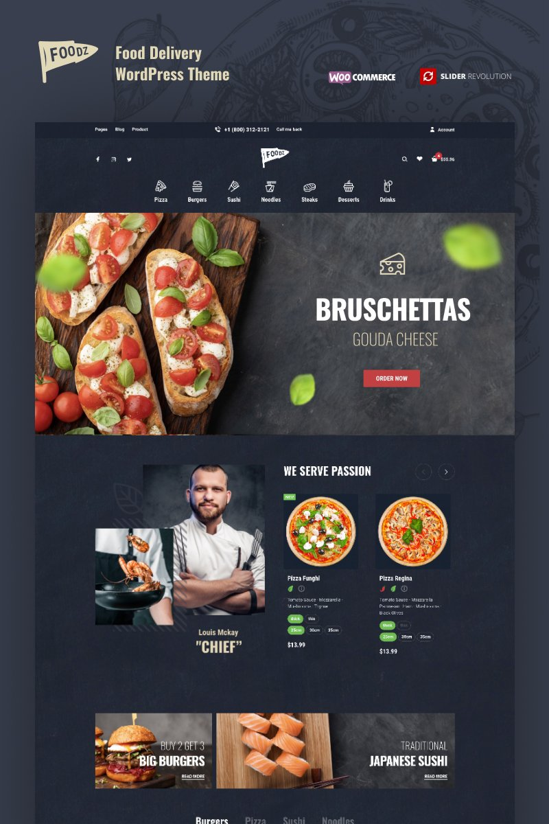 """""""Foodz - Pizza, Sushi, Fast Food Delivery & Restaurant"""" Responsive WooCommerce Thema №80268"""