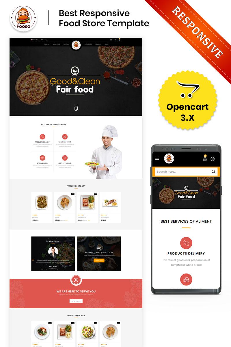 """""""Foosa Fast Food Store - Responsive"""" 响应式OpenCart模板 #80254"""