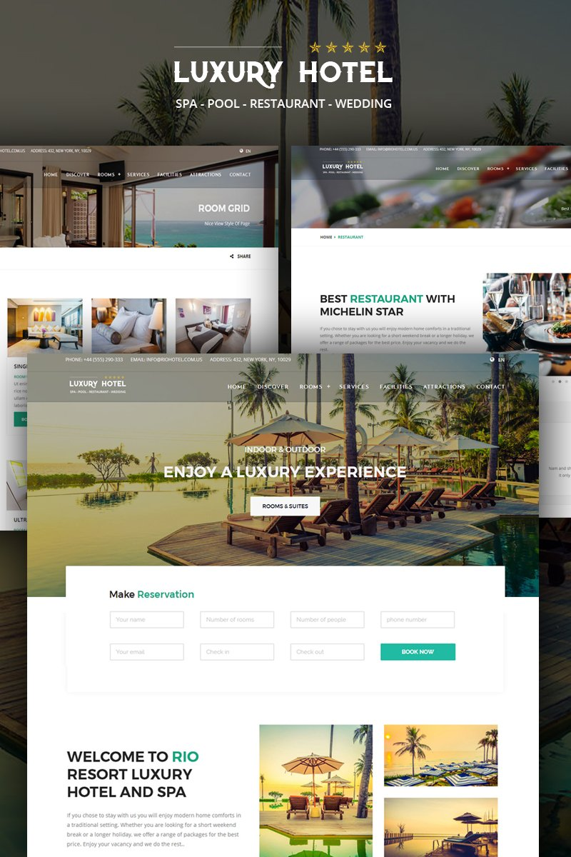 Hotel - Booking - Resort - Spa & Restaurant + RTL Website Template - screenshot