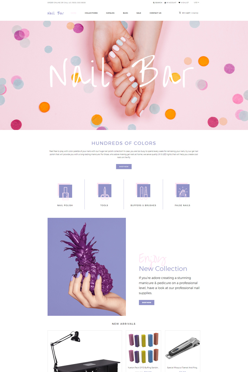 "Modello Shopify Responsive #80222 ""Nail Bar - Cosmetics Store eCommerce Creative"""