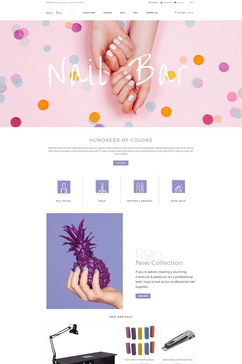 """Nail Bar - Cosmetics Store eCommerce Creative"" 响应式Shopify模板 #80222"