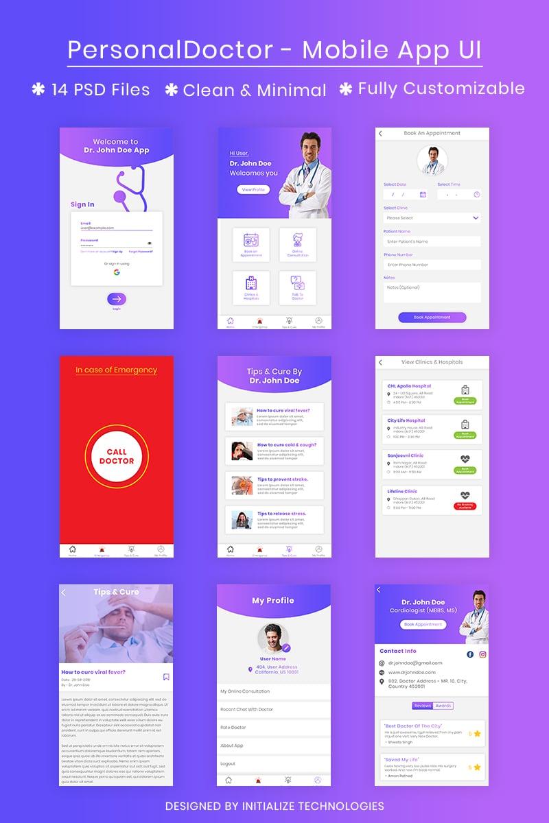 PersonalDoctor - Mobile App UI PSD sablon 80230