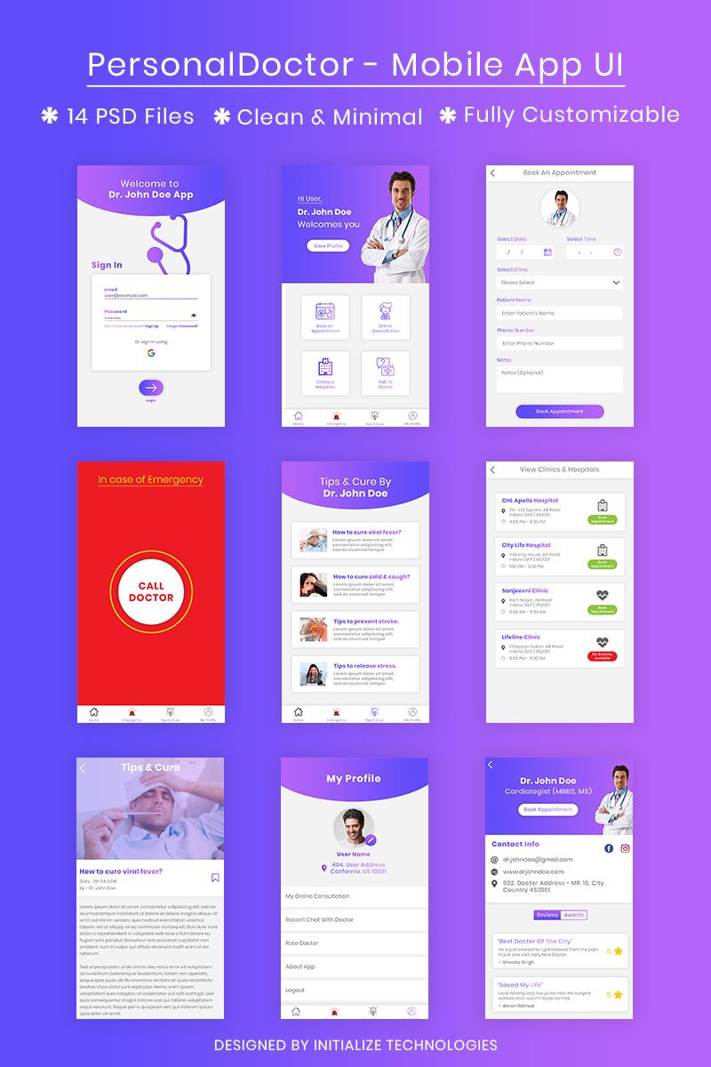 PersonalDoctor - Mobile App UI Template Photoshop №80230