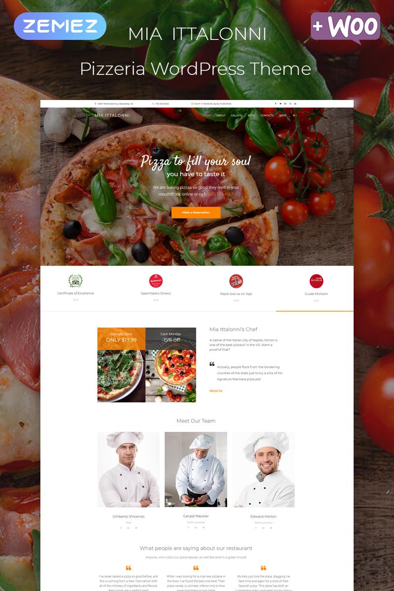 Responsivt Mia Ittalonni - Pizzeria ECommerce Modern Elementor WordPress-tema #80269