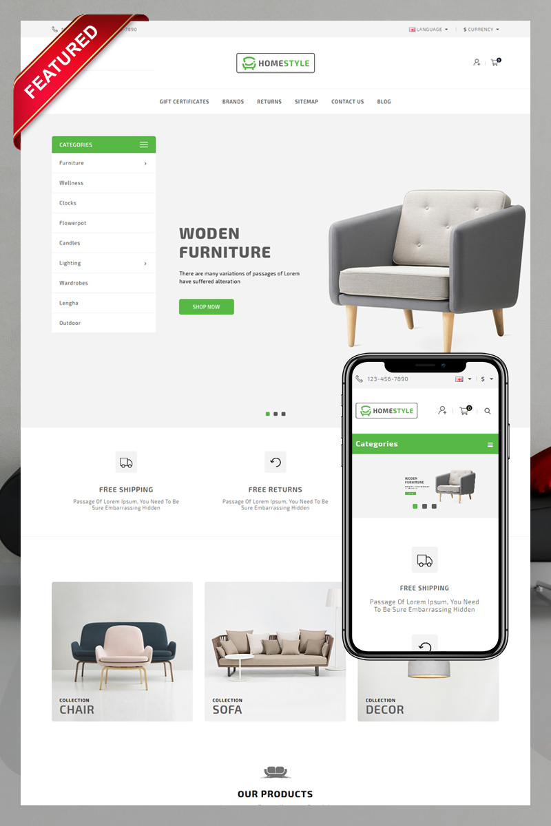 Responsywny szablon OpenCart Homestyle #80233