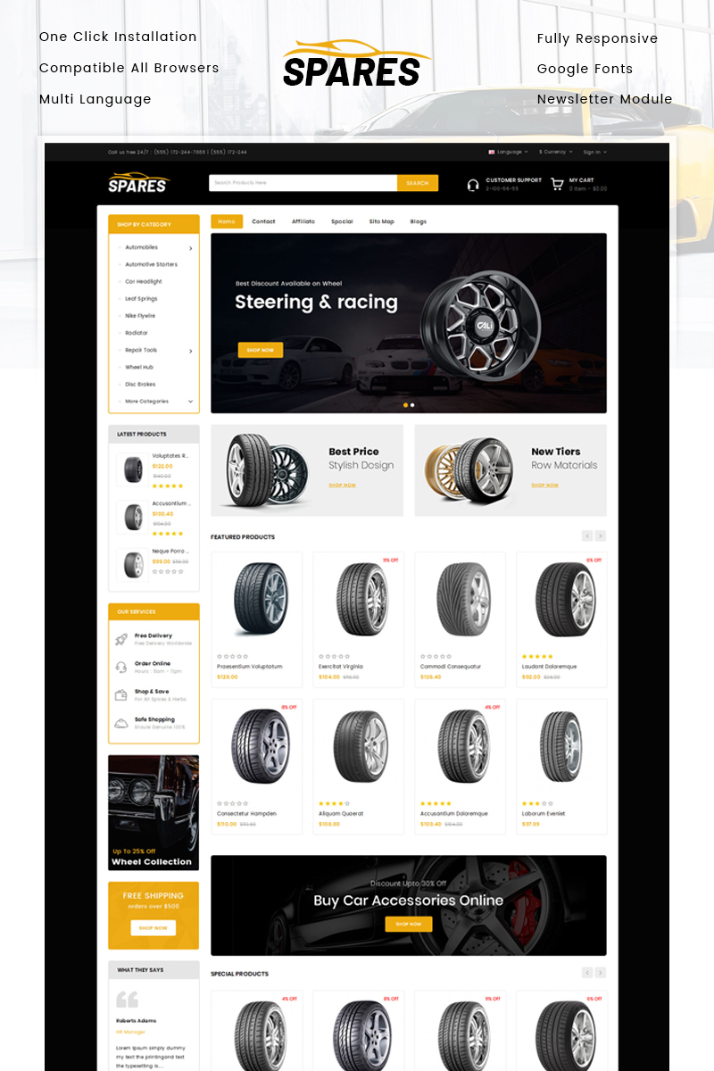 """Template OpenCart Responsive #80206 """"Spares - Auto Wheels Store"""""""