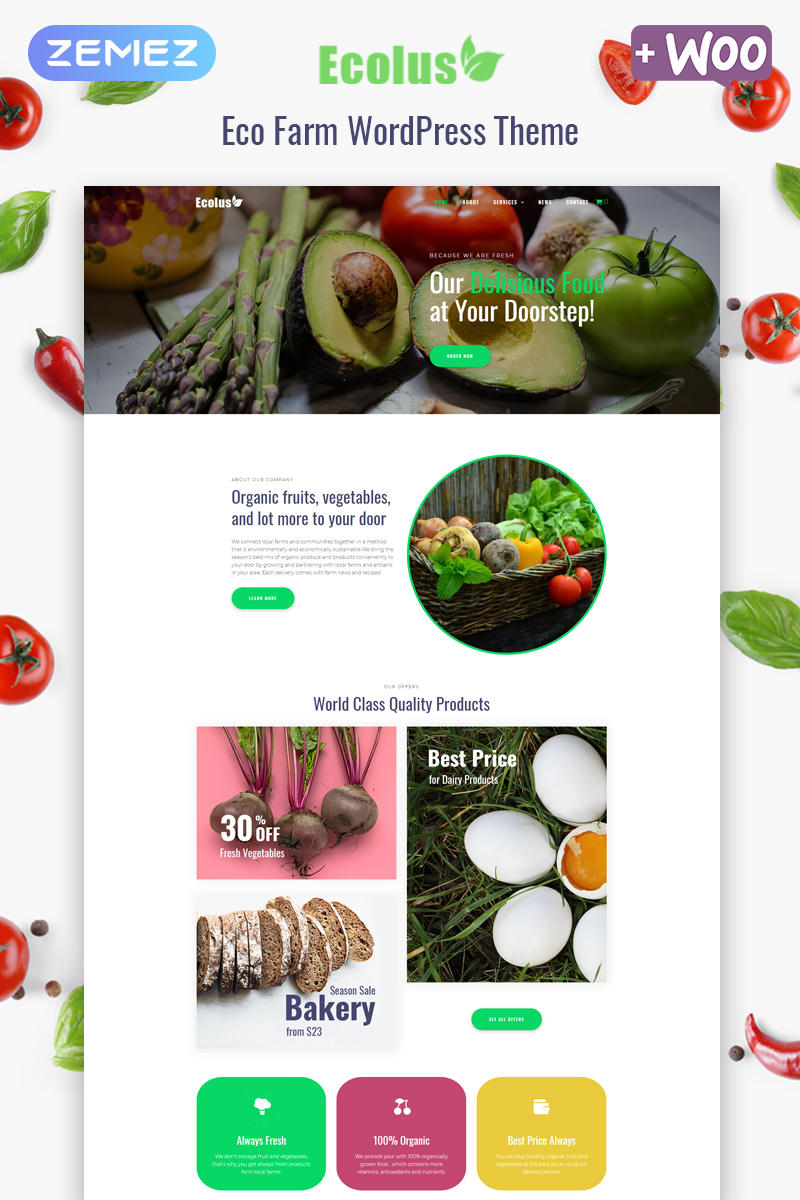 "Template WordPress Responsive #80218 ""Ecolus - Organic Food Delivery ECommerce Modern Elementor"""