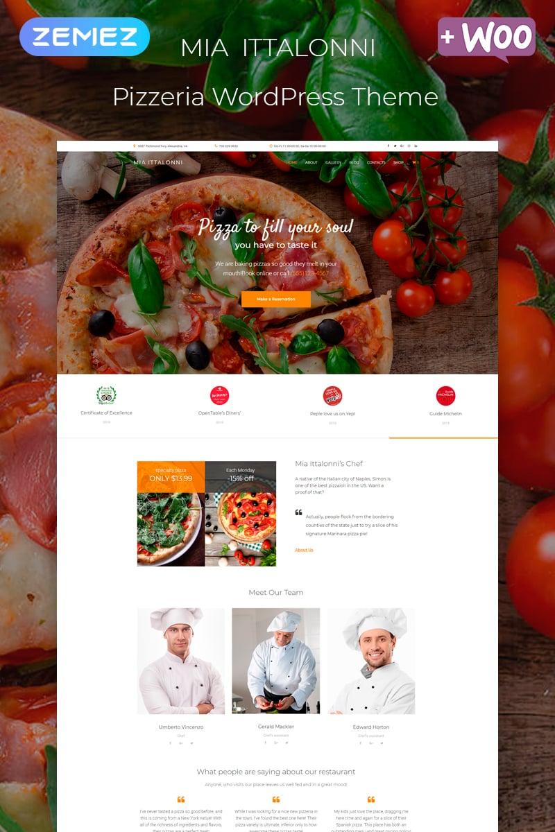 "Template WordPress Responsive #80269 ""Mia Ittalonni - Pizzeria ECommerce Modern Elementor"""