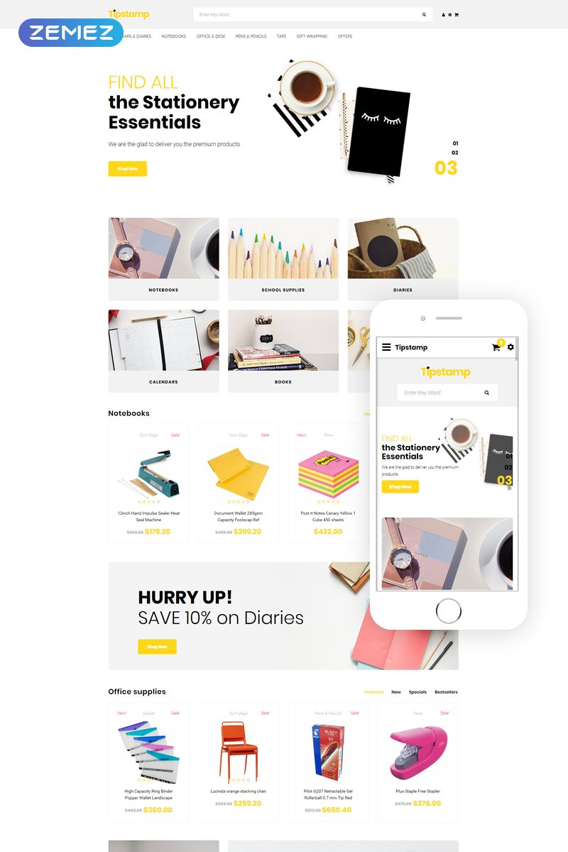 """""""Tipstamp - Stationery Store Clean"""" OpenCart Template №80217"""