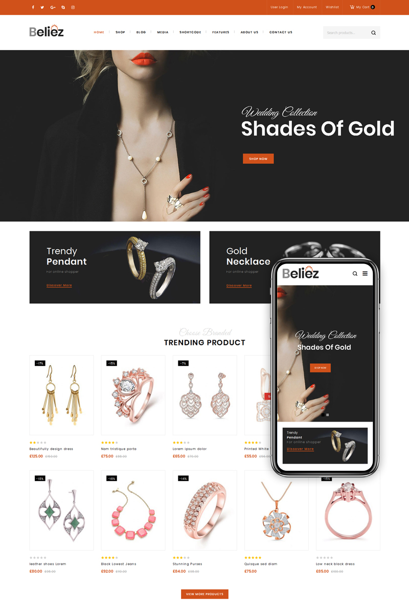"WooCommerce Theme namens ""Beliez - Jewelry Shop"" #80252"