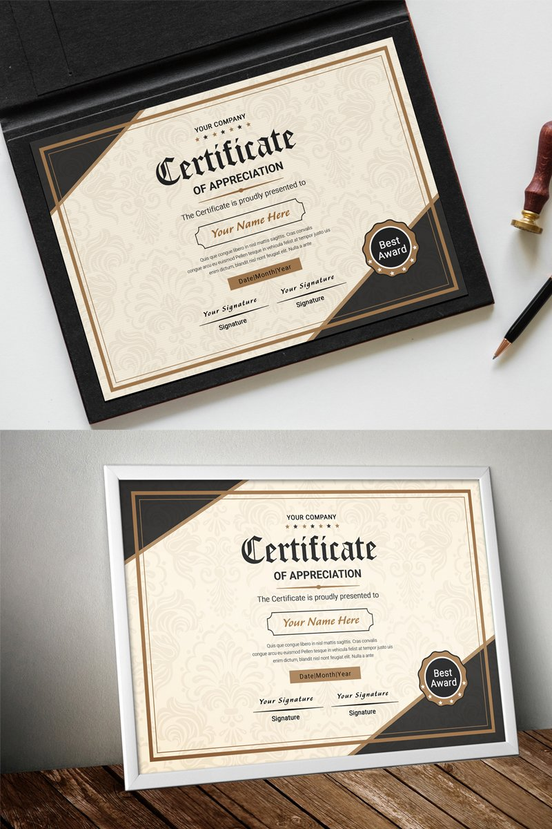 Classic Appreciation Certificate Template 80389 - képernyőkép