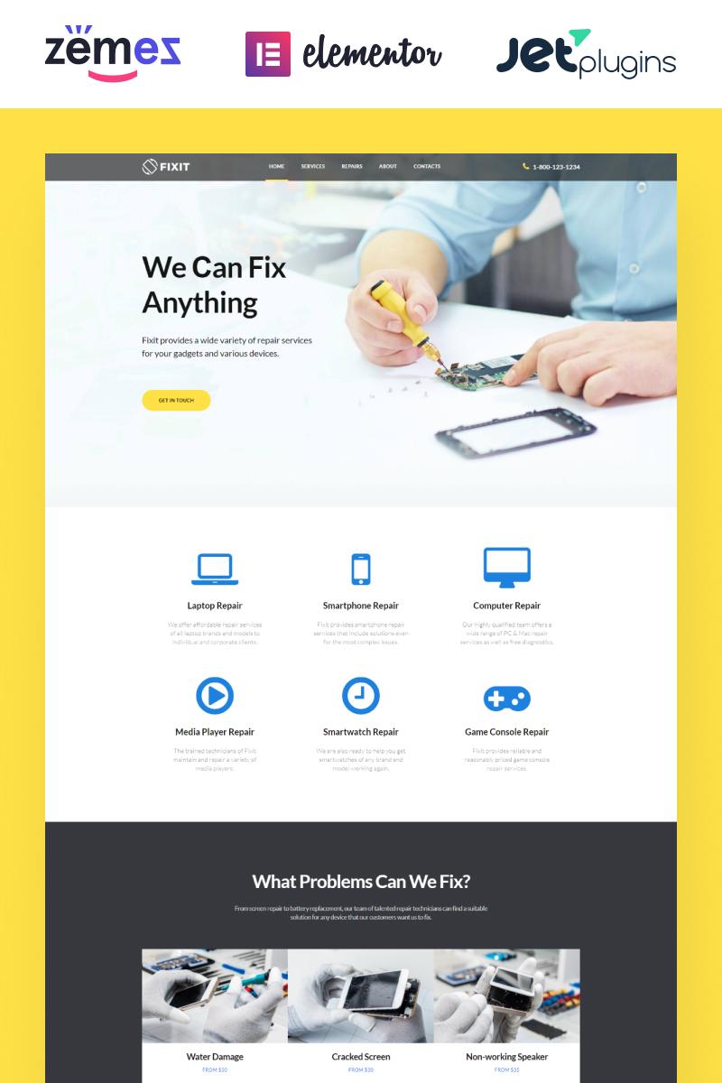 """Fixit - Gadgets Repair Multipurpose Modern Elementor"" Responsive WordPress thema №80333"