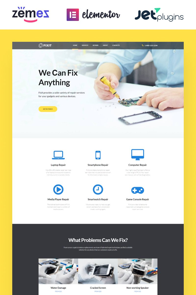 """""""Fixit - Gadgets Repair Multipurpose Modern Elementor"""" thème WordPress adaptatif #80333"""