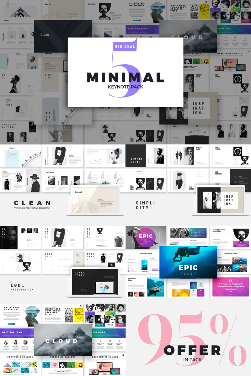"""Luxusní Šablona pro Keynote """"Minimal Presentation -"""" #80387"""