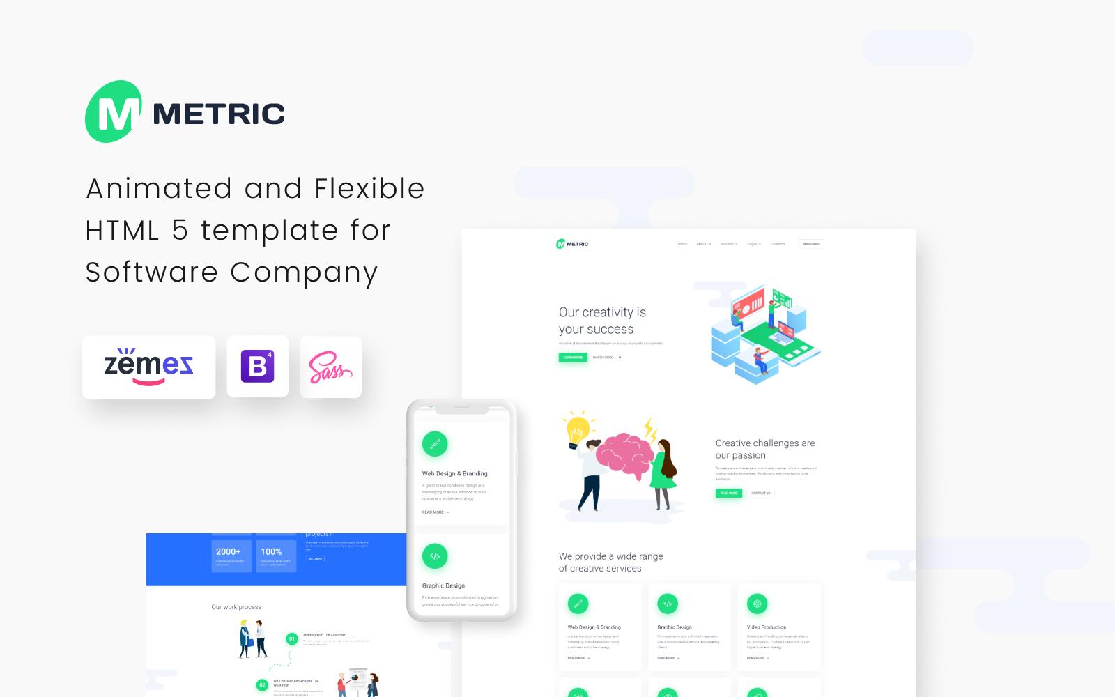 """""""Metric - Creative Digital Agency"""" Responsive Website template №80375"""
