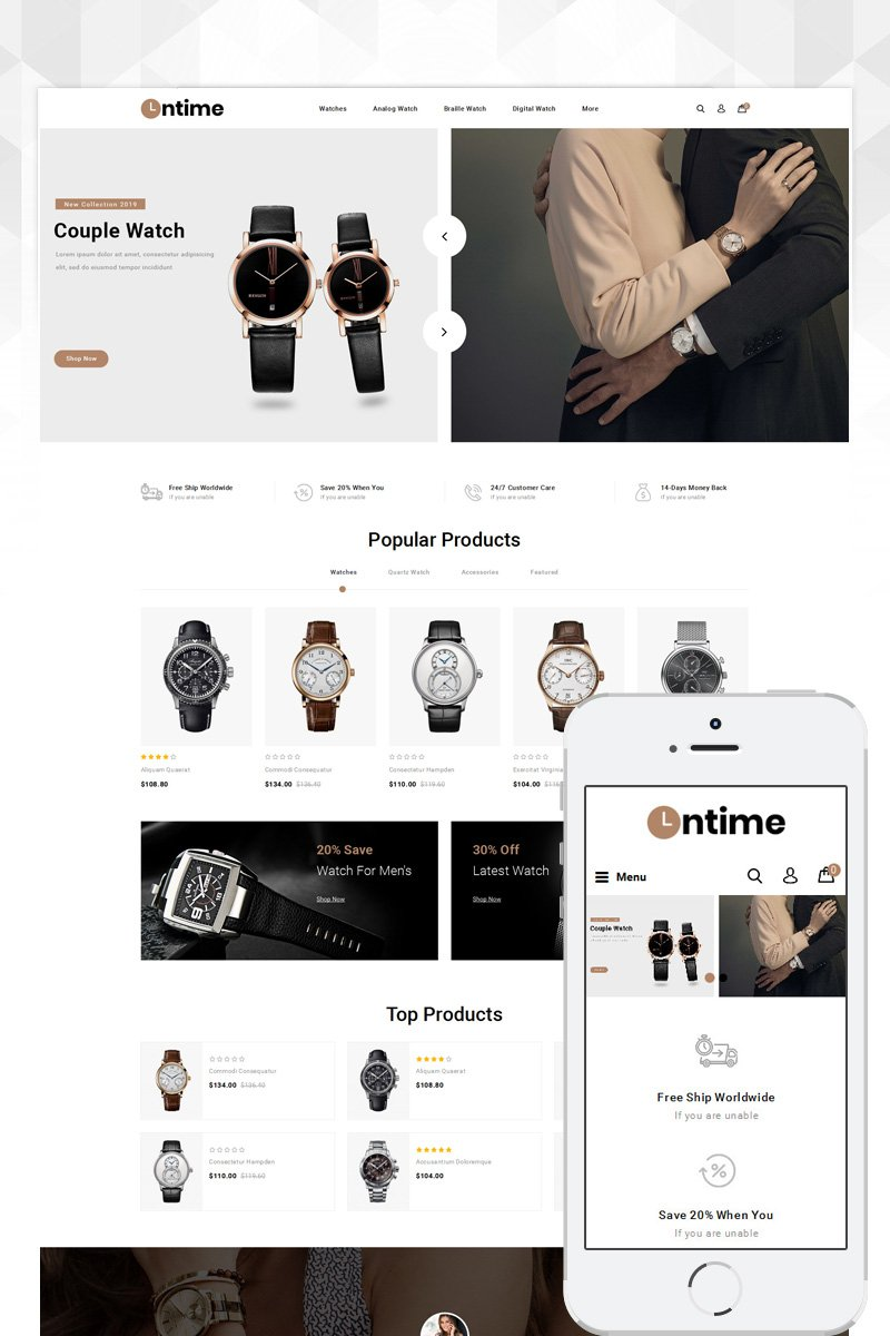 OnTime - Watch Store OpenCart Template - screenshot
