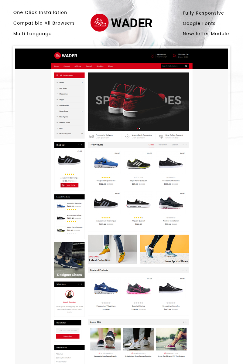 "OpenCart Vorlage namens ""Wader Sports Shoes Store"" #80356 - Screenshot"