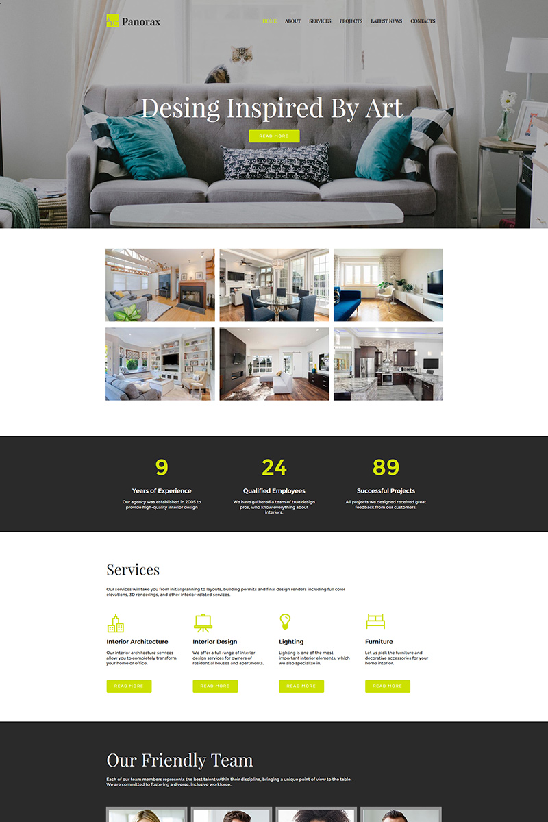 """Panorax - Interior Design"" Moto CMS HTML模板 #80374"
