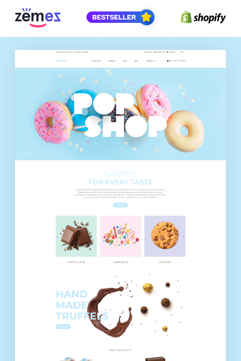 """Popshop - Sweet Shop Clean"" 响应式Shopify模板 #80379"