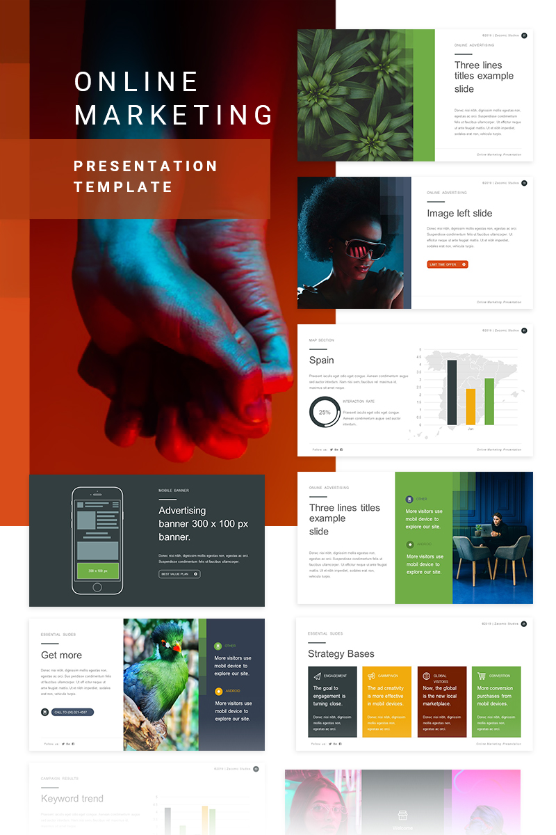 Premium Online Marketing PowerPointmall #80355 - skärmbild