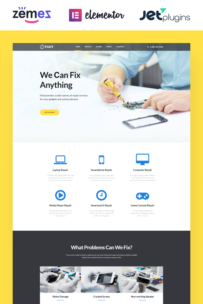 Responsive Fixit - Gadgets Repair Multipurpose Modern Elementor Wordpress #80333