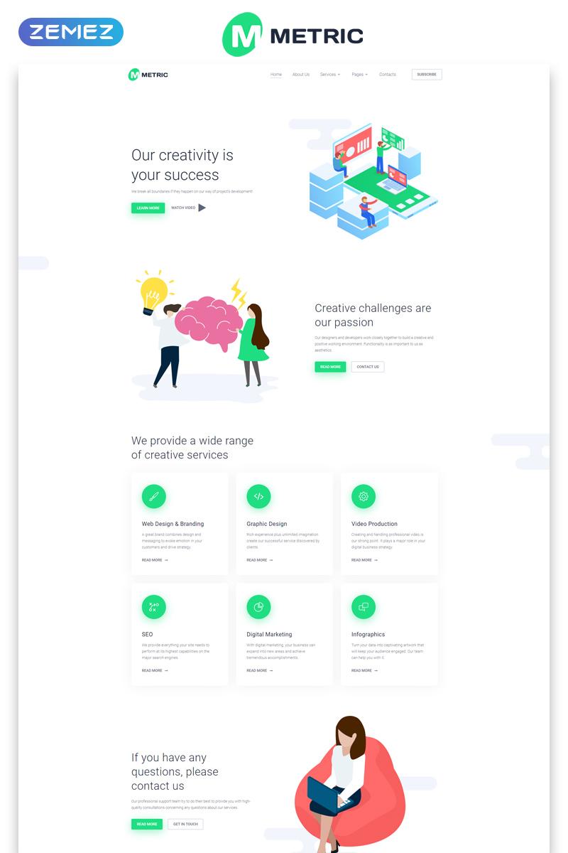 Responsywny szablon strony www Metric - Web Development Creative Multipage HTML #80375