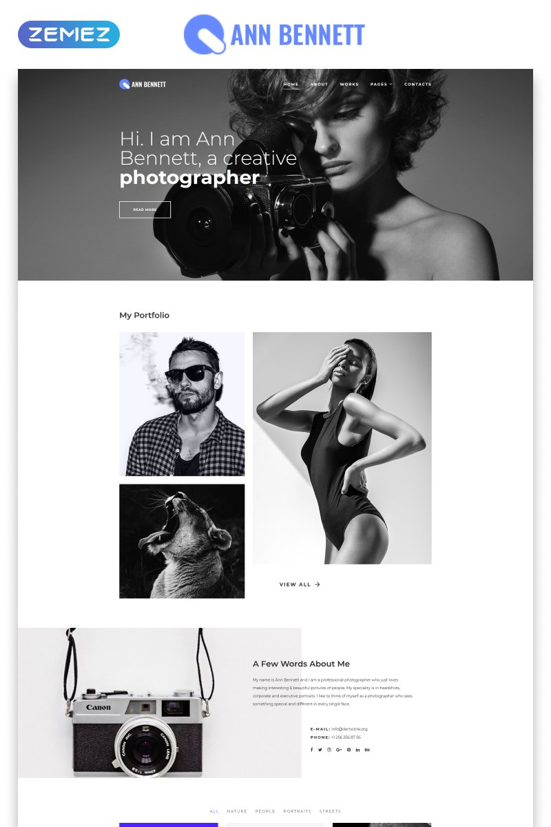 Reszponzív Ann Bennett - Photographer Portfolio Multipage Creative HTML Weboldal sablon 80376