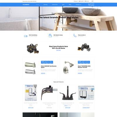 Responsive Tema Shopify #80380 para Sitio de  para Sitio de Servicios de Fontanería