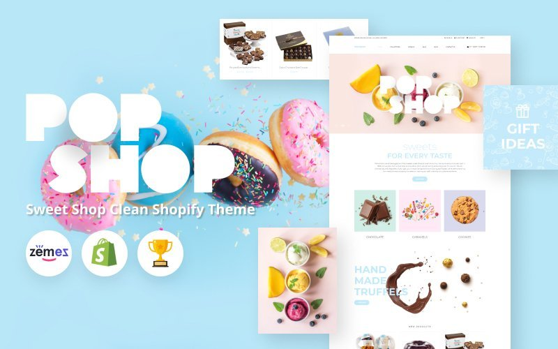 "Tema Shopify ""Popshop - Sweet Shop Clean"" #80379"