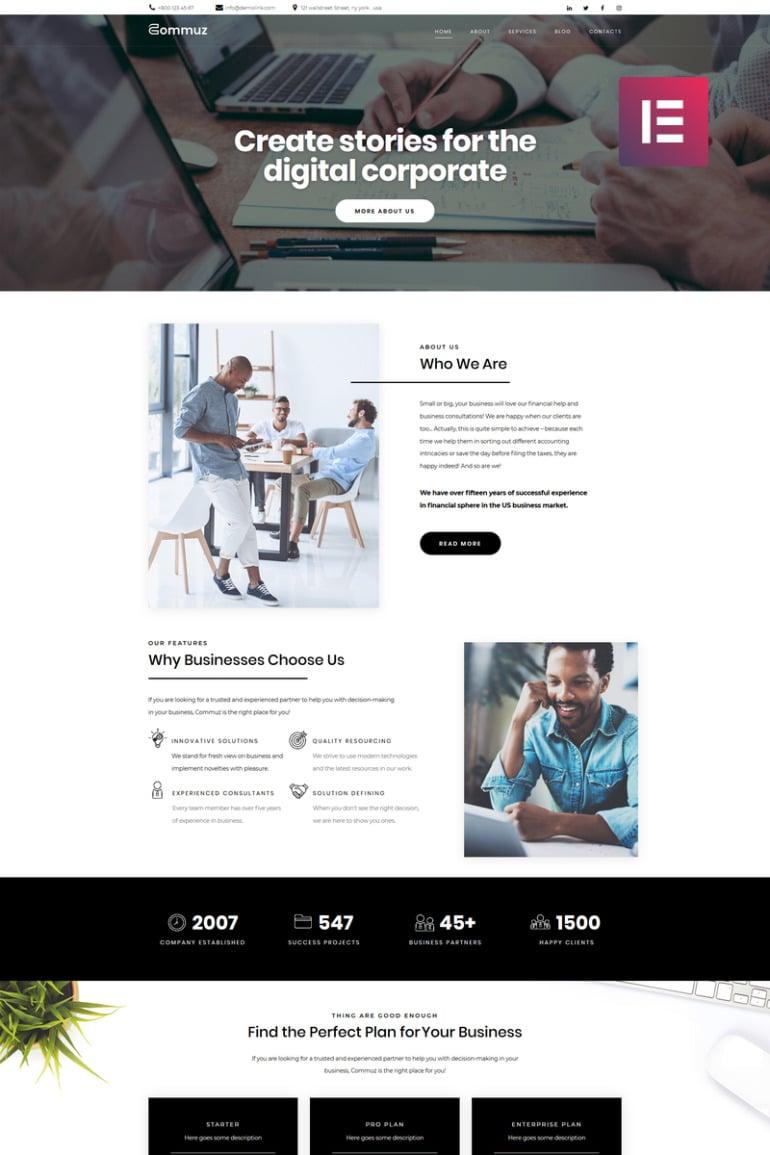 Commuz - Business Multipurpose Modern Elementor WordPress Theme