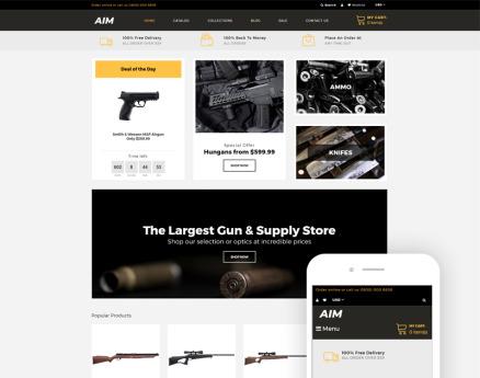 AIM - Weapon Store Modern Shopify Theme
