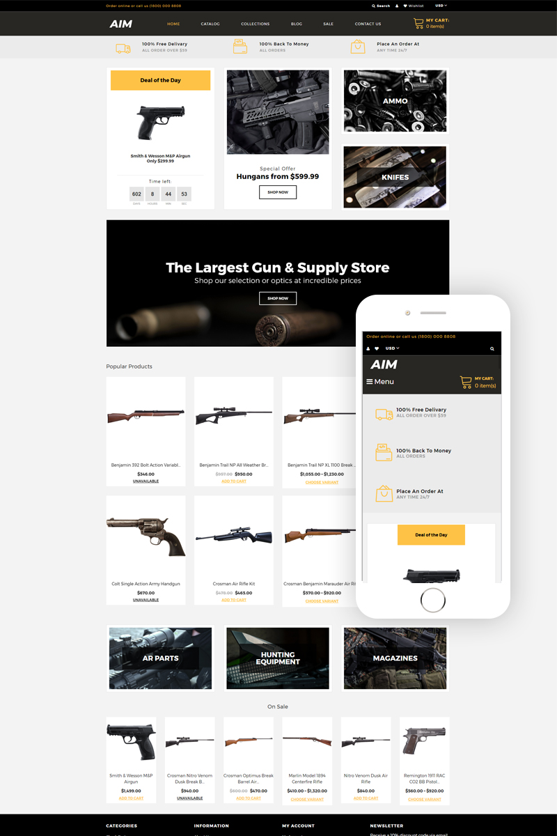 """AIM - Weapon Store Modern"" - адаптивний Shopify шаблон №80484"