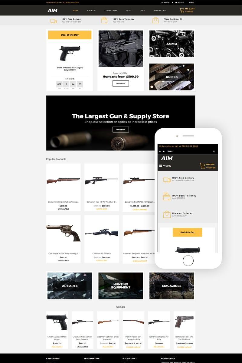 """""""AIM - Weapon Store Modern"""" thème Shopify adaptatif #80484"""