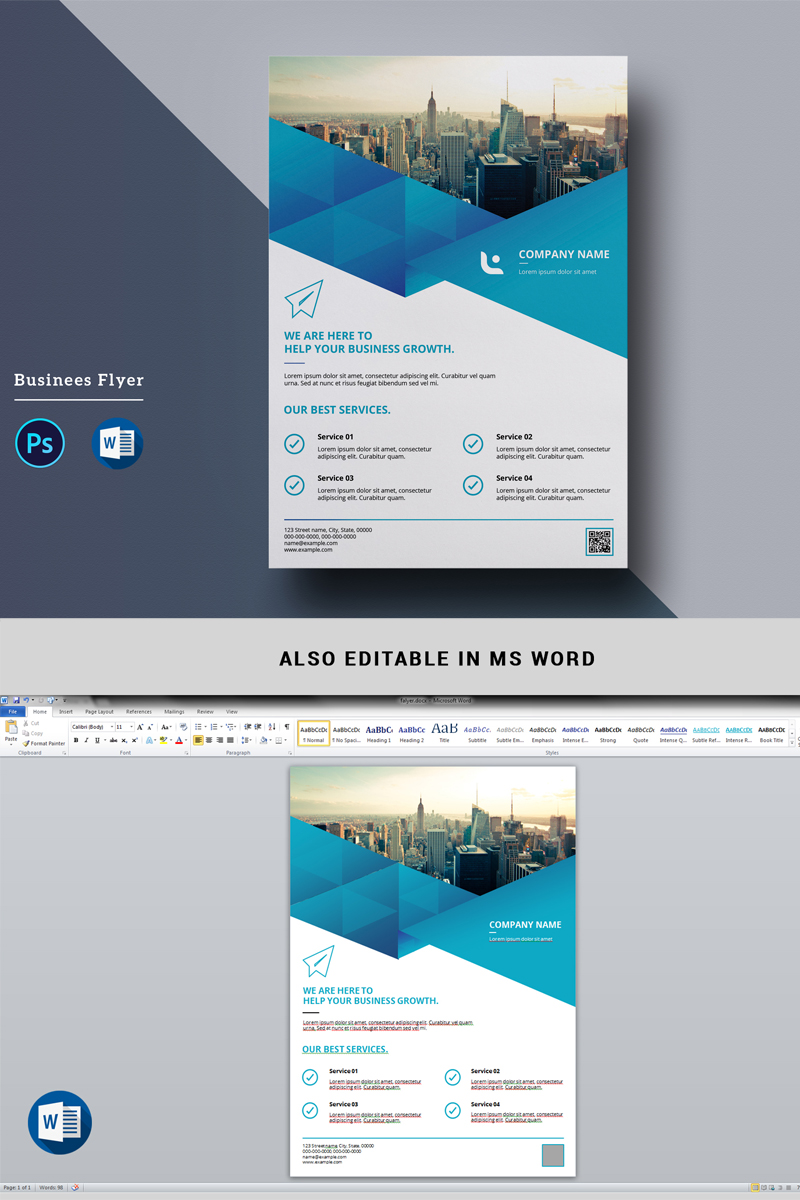 Geometric Blue Business Flyer Corporate Identity Template